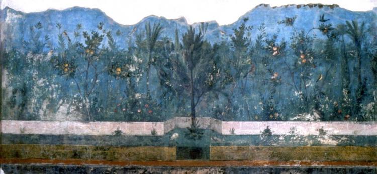 Visione d'insieme del giardino dipinto della Villa di Livia (Fot. Sopr. Arch. D398456, da Caneva e Bohuny, 2003).